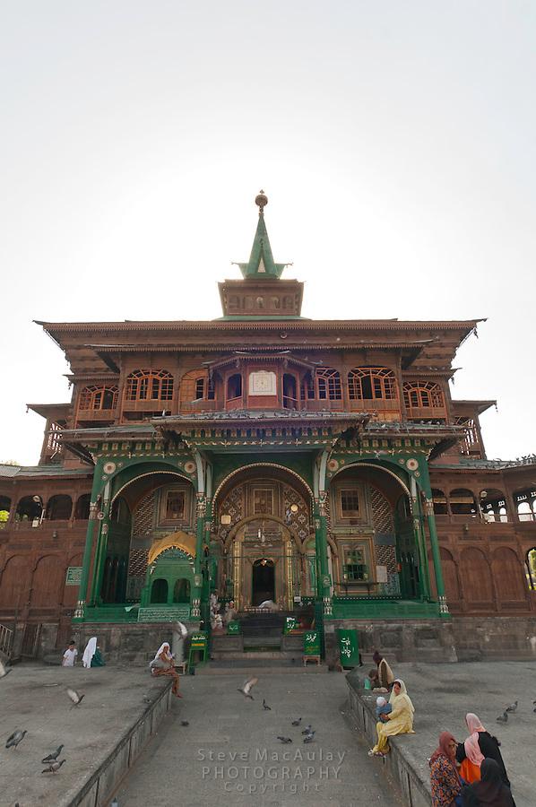 The Muslim meeting hall, Khanqah of Shah Hamadan, with its rich papier mache decorations.  Srinagar, Kashmir, India.