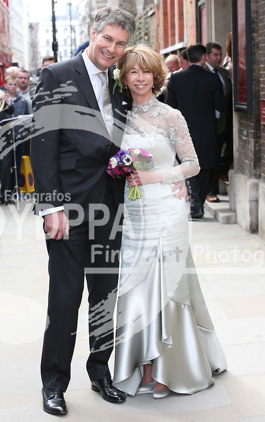 Coronation Street actress Helen Worth with her new husband Trevor Dawson after their wedding  at St.James's Church in Piccadilly, London, Saturday 6th   April 2013.  Photo by: Stephen Lock / i-Images / DyD Fotografos