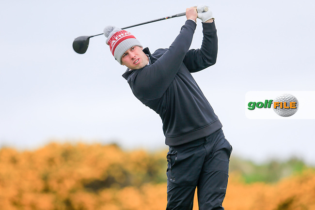 Alex Gleeson (Castle) during the first round of matchplay at the West of Ireland, Co Sligo golf club, Rosses Point, Sligo. 16/04/2017.<br /> Picture: Golffile   Fran Caffrey<br /> <br /> <br /> All photo usage must carry mandatory copyright credit (&copy; Golffile   Fran Caffrey)