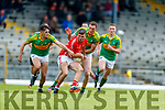 Kevin McCarthy East Kerry in action against Graham O Sullivan and Brendan O Sullivan South Kerry in the Kerry Senior Football Championship between South Kerry and East Kerry at Fitzgerald Stadium Killarney on Sunday.