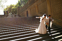 A couple on their wedding day, Central Park, NYC.
