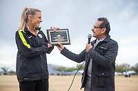 Phoenix, AZ - December 12, 2015: Julie Johnston of the USWNT received a key to her hometown, Mesa,  during an appearance.