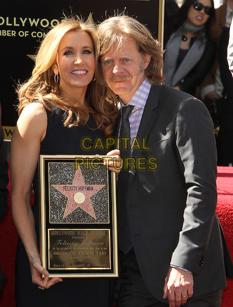 Felictiy Huffman And William H. Macy.Felictiy Huffman And William H. Macy Hollywood Walk Of Fame Induction Ceremony Held At On the Walk of Fame, Hollywood, California, USA.  .March 7th, 2012.half length moustache mustache facial hair married husband wife black suit dress suit plaque .CAP/ADM/KB.©Kevan Brooks/AdMedia/Capital Pictures.