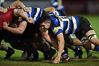 Rhys Davies of Bath United in action at a scrum. Aviva A-League match, between Bath United and Harlequins A on March 26, 2018 at the Recreation Ground in Bath, England. Photo by: Patrick Khachfe / Onside Images