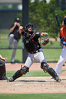 GCL Marlins catcher Will Banfield (10) throws to second base during a game against the GCL Astros on August 5, 2018 at FITTEAM Ballpark of the Palm Beaches in West Palm Beach, Florida.  GCL Astros defeated GCL Marlins 2-1.  (Mike Janes/Four Seam Images)