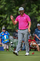 Jon Rahm (ESP) after sinking his par putt on 2 during 2nd round of the World Golf Championships - Bridgestone Invitational, at the Firestone Country Club, Akron, Ohio. 8/3/2018.<br /> Picture: Golffile | Ken Murray<br /> <br /> <br /> All photo usage must carry mandatory copyright credit (© Golffile | Ken Murray)