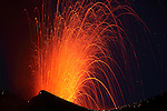 Strombolian eruption of Fogo Volcano at night, Cape Verde