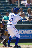 Round Rock shortstop Jurickson Profar (10) at bat against the Nashville Sounds in the Pacific Coast League baseball game on May 5, 2013 at the Dell Diamond in Round Rock, Texas. Round Rock defeated Nashville 5-1. (Andrew Woolley/Four Seam Images).