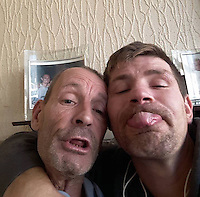 Pictured: Lukasz Robert Pawlowski (R), image found on open social media page<br /> Re: A man has cut his throat in the dock at Haverfordwest Magistrates' Court as he waited to be sentenced for a sex attack.<br /> Lukasz Robert Pawlowski, 33, had pleaded guilty to sexual assault by grabbing and kissing a shop assistant.<br /> Pawlowski, of Bush Street, Pembroke Dock, was appearing for sentence at the Pembrokeshire court when the incident happened.<br /> He has been taken to a Swansea hospital by air ambulance.<br /> Following the incident, an emergency call was made from the court at 10:20 GMT.<br /> It is unclear where and how Pawlowski gained access to the weapon.<br /> It is understood he lost consciousness and a lot of blood after the incident, but is now awake and is receiving medical treatment.