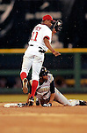 29 June 2005: Junior Spivey, infielder for the Washington Nationals, gets Jose Castillo out attempting to steal second base during a game against the Pittsburgh Pirates. The Nationals rallied to defeat the Pirates 3-2 in a rain delayed game at RFK Stadium in Washington, DC.  Mandatory Photo Credit: Ed Wolfstein