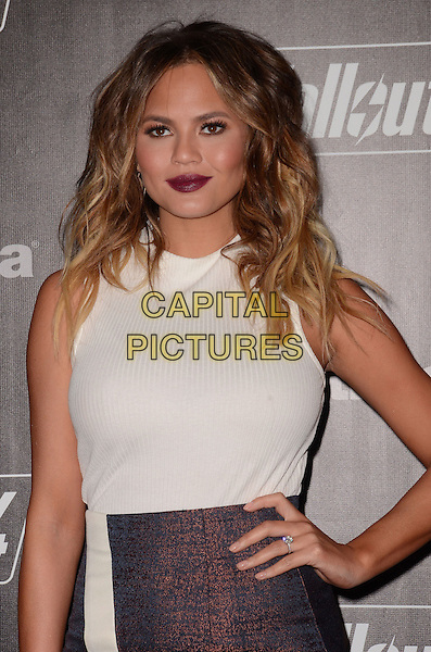 05 November - Los Angeles, Ca - Chrissy Teigen. Arrivals for the official launch party of the video game &quot;Fallout 4&quot; held at a private location in Downtown LA.  <br /> CAP/ADM/BT<br /> &copy;BT/ADM/Capital Pictures