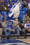 March 22,  2010                                  The Saint Lous University mascot, the Billiken, jumps up and down repeatedly during a time out to fire up the team and the fans.   St. Louis University defeated the University of Wisconsin-Green Bay  68-62 in double overtime in a quarterfinal (second) round game of the College Basketball Invitational Tournament on Monday March 22, 2010 at Saint Louis University's Chaifetz Arena.