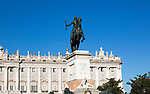 Royal Palace, Plaza de Oriente equestrian statue King Felipe IV designed by Velazquez, Madrid, Spain