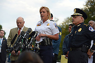 October 3, 2013  (Washington, DC)  D.C. Metropolitan Police Chief Cathy Lanier speaks to the media during a news conference with U.S. Capitol Police Chief Kim Dine   (r) and Ed Donovan of the Secret Service (l), after a woman was shot and killed by police at the U.S. Capitol building October 3, 2013. (Photo by Don Baxter/Media Images International)