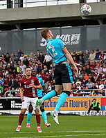 Fleetwood Town's Cian Bolger heads at goal<br /> <br /> Photographer Andrew Kearns/CameraSport<br /> <br /> The EFL Sky Bet League One - Northampton Town v Fleetwood Town - Saturday August 12th 2017 - Sixfields Stadium - Northampton<br /> <br /> World Copyright &copy; 2017 CameraSport. All rights reserved. 43 Linden Ave. Countesthorpe. Leicester. England. LE8 5PG - Tel: +44 (0) 116 277 4147 - admin@camerasport.com - www.camerasport.com