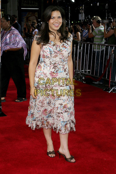 "AMERICA FERRARA.At the Los Angeles Premiere of ""Just Like Heaven"" held at Graumann's Chinese Theatre,.Los Angeles, 8th Septeber 2005.full length purple pink floral pattern print dress.Ref: ADM/JW.www.capitalpictures.com.sales@capitalpictures.com.© Capital Pictures."