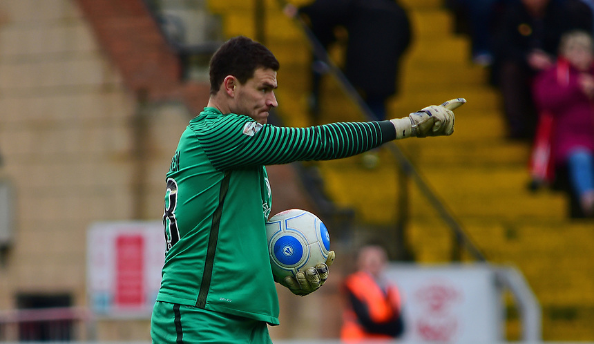 York City's Kyle Letheren<br /> <br /> Photographer Andrew Vaughan/CameraSport<br /> <br /> Buildbase FA Trophy Semi Final Second Leg - Lincoln City v York City - Saturday 18th March 2017 - Sincil Bank - Lincoln<br />  <br /> World Copyright &copy; 2017 CameraSport. All rights reserved. 43 Linden Ave. Countesthorpe. Leicester. England. LE8 5PG - Tel: +44 (0) 116 277 4147 - admin@camerasport.com - www.camerasport.com