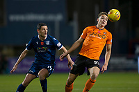 8th November 2019; Dens Park, Dundee, Scotland; Scottish Championship Football, Dundee Football Club versus Dundee United; Louis Appere of Dundee United controls the high ball in front of Graham Dorrans of Dundee  - Editorial Use