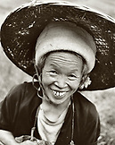 CHINA, portrait of a woman farmer at the Dragon Backbone Rice Terraces (B&W) (B&W)