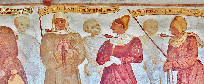 "The Church of San Vigilio in Pinzolo and its fresco paintings ""Dance of Death"" ( Danza macabra)  painted by Simone Baschenis of Averaria in1539, Pinzolo, Trentino, Italy.<br />