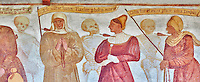 The Church of San Vigilio in Pinzolo and its fresco paintings &ldquo;Dance of Death&rdquo; ( Danza macabra)  painted by Simone Baschenis of Averaria in1539, Pinzolo, Trentino, Italy.<br />