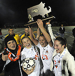 (Worcester Ma 111513) Newtown North High girls celebrate after winning the state final on penalty kicks, during the MIAA State Girls Soccer Division 1 final, Friday, at Worcester State College in Worcester. (Jim Michaud Photo) For Saturday
