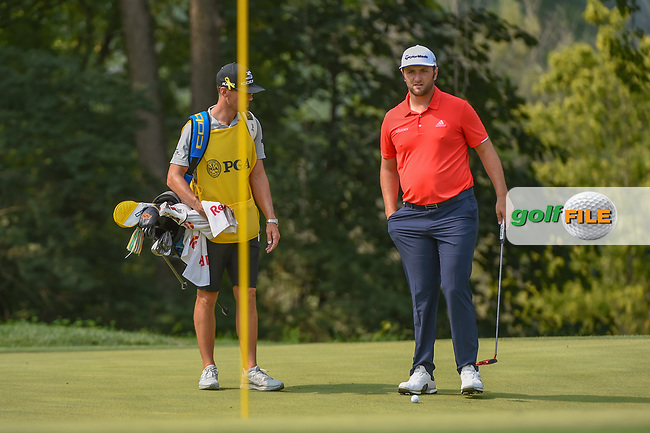Jon Rahm (ESP) looks over his putt on 9 during 4th round of the 100th PGA Championship at Bellerive Country Club, St. Louis, Missouri. 8/12/2018.<br /> Picture: Golffile | Ken Murray<br /> <br /> All photo usage must carry mandatory copyright credit (© Golffile | Ken Murray)