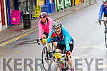 Cyclists in great spirits as they come through Cahersiveen on Saturday morning.