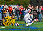 3 October 2015: University of Vermont Catamount Forward Shane Haley, a Junior from Williston, VT, in unable to score on Binghamton University Bearcat Goalkeeper Robert Moewes, a Junior from Dortmund, Germany, during game action at Virtue Field in Burlington, Vermont. The Catamounts were unable to complete the late game rally, falling to the Bearcats 2-1 in America East conference play. Mandatory Credit: Ed Wolfstein Photo *** RAW (NEF) Image File Available ***