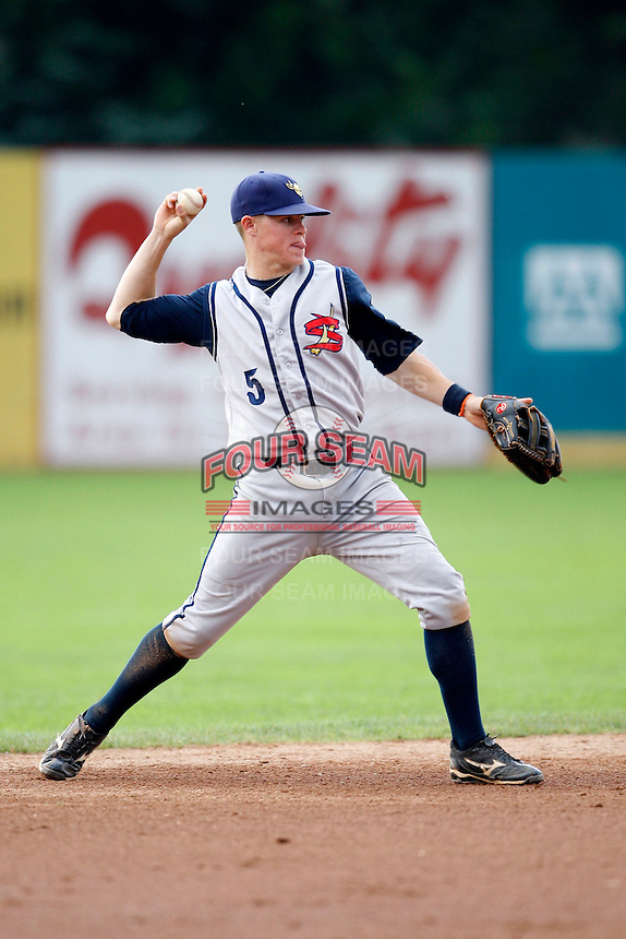 July 30, 2009:  Second Baseman Brock Holt of the State College Spikes during a game at Russell Diethrick Park in Jamestown, NY.  State College is the NY-Penn League Short-Season Class-A affiliate of the Pittsburgh Pirates.  Photo By Mike Janes/Four Seam Images