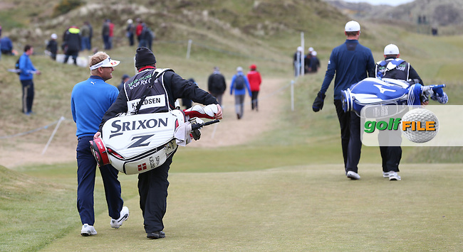 Chris Wood (ENG) and Soren Kjeldsen (DEN) begin Round Three of the 2015 Dubai Duty Free Irish Open Hosted by The Rory Foundation at Royal County Down Golf Club, Newcastle County Down, Northern Ireland. 30/05/2015. Picture David Lloyd   www.golffile.ie