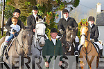 Whip of the Kingdom Hunt club Dan O'Sullivan with some of the riders and horses at the start of the Firies Hunt on Sunday l-r: Leanne Riordan Abbeyfeale, Ethan Abu, John O'Sullivan, padraig Dondon, Liam Riordan all Gneeveguilla