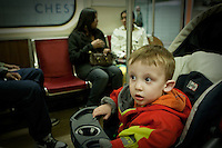 Charles-Edward Vachon, 2, sits in a stroller as he rides the Subway in Toronto April 24, 2010. The Toronto subway and RT system is a rapid transit system in Toronto, Ontario, Canada, consisting of both underground and elevated railway lines, operated by the Toronto Transit Commission (TTC).