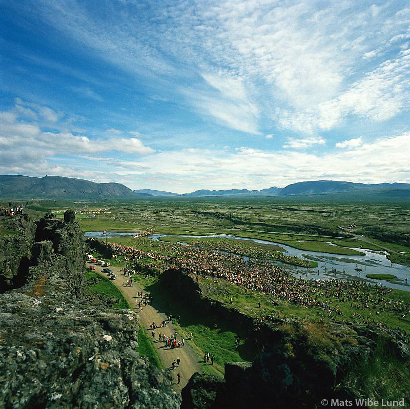 Þingvallahreppur /.Celebrating the 1100 years aniversary of the first stellement in Iceland on the plains of Thingvellir - where the icelanders founded their government year 930. .In front the rift Almannagja caused by a hughe earthquake of prehistoric date.