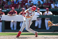NWA Democrat-Gazette/CHARLIE KAIJO Arkansas outfielder Eric Cole (8) contacts the ball during the second game of the NCAA super regional baseball, Sunday, June 10, 2018 at Baum Stadium in Fayetteville. Arkansas fell to South Carolina 5-8.
