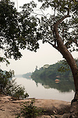 Aldeia Baú, Para State, Brazil. Misty morning view of the Curuá River.