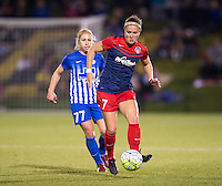 Boyds, MD - April 16, 2016: Washington Spirit midfielder Christine Nairn (7) and Boston Breakers player McCall Zerboni (77). The Washington Spirit defeated the Boston Breakers 1-0 during their National Women's Soccer League (NWSL) match at the Maryland SoccerPlex.