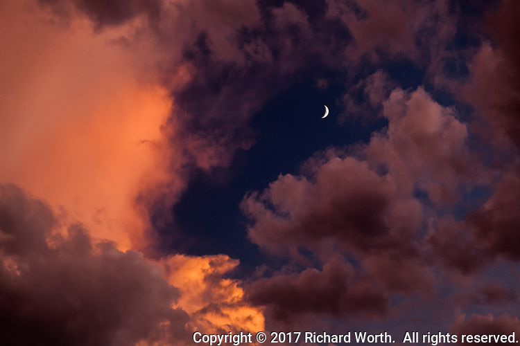 The waxing crescent moon surrounded by clouds glowing in sunset light.  Boulder, Colorado, USA.