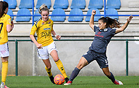 20190813 - DENDERLEEUW, BELGIUM : PAOK's Dimitra Karapetsa (r) pictured in a duel with LSK's Mille Dalen (left) during the female soccer game between the Greek PAOK Thessaloniki Ladies FC and the Norwegian LSK Kvinner Fotballklubb Ladies , the third and final game for both teams in the Uefa Womens Champions League Qualifying round in group 8 , Tuesday 13 th August 2019 at the Van Roy Stadium in Denderleeuw  , Belgium  .  PHOTO SPORTPIX.BE for NTB | DAVID CATRY