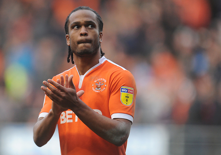 Blackpool's Nathan Delfouneso<br /> <br /> Photographer Kevin Barnes/CameraSport<br /> <br /> The EFL Sky Bet League One - Blackpool v Southend United - Saturday 9th March 2019 - Bloomfield Road - Blackpool<br /> <br /> World Copyright © 2019 CameraSport. All rights reserved. 43 Linden Ave. Countesthorpe. Leicester. England. LE8 5PG - Tel: +44 (0) 116 277 4147 - admin@camerasport.com - www.camerasport.com