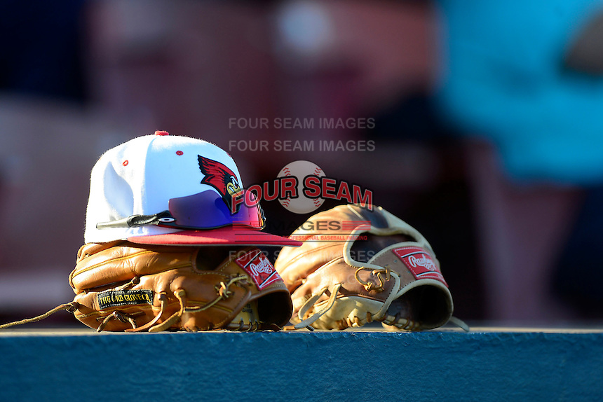 Illinois State Redbirds hat, glove and sunglasses sit on top of the dugout during a game against the Long Island Blackbirds at Chain of Lakes Stadium on March 8, 2013 in Winter Haven, Florida.  Illinois State defeated Long Island 6-3.  (Mike Janes/Four Seam Images)