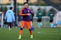 Ian Poveda of Manchester City warms up ahead of kick-off during Lyon Under-19 vs Manchester City Under-19, UEFA Youth League Football at Groupama OL Academy on 27th November 2018