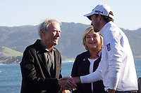 Clint Eastwood shakes hands with the winner Nick Taylor (CAN) during the final round of the AT&T Pro-Am, Pebble Beach, Monterey, California, USA. 08/02/2020<br /> Picture: Golffile | Phil Inglis<br /> <br /> <br /> All photo usage must carry mandatory copyright credit (© Golffile | Phil Inglis)
