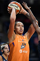 Washington, DC - July 30, 2019:Phoenix Mercury center Brittney Griner (42) goes up for a basket during first half action of game between the Phoenix Mercury and Washington Mystics at the Entertainment & Sports Arena in Washington, DC. (Photo by Phil Peters/Media Images International)