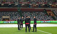 Leiria, Portugal - Tuesday November 14, 2017: USMNT observe the pitch during an International friendly match between the United States (USA) and Portugal (POR) at Estádio Dr. Magalhães Pessoa.