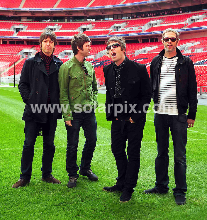 **ALL ROUND PICTURES FROM SOLARPIX.COM**.**WORLDWIDE SYNDICATION RIGHTS**.Oasis today at Wembley Stadium in London where they announced their biggest ever tour of the UK & Ireland for 2009. London, UK. 16th October 2008..This pic: Oasis..JOB REF: 7614 STN       DATE: 16_10_2008.**MUST CREDIT SOLARPIX.COM OR DOUBLE FEE WILL BE CHARGED* *UNDER NO CIRCUMSTANCES IS THIS IMAGE TO BE REPRODUCED FOR ANY ONLINE EDITION WITHOUT PRIOR PERMISSION*