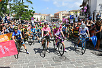 The leaders jerseys lined up before the start of Stage 9 of the 2018 Giro d'Italia, running 225km from Pesco Sannita to Gran Sasso d'Italia (Campo Imperatore), this year's Montagna Pantani, Italy. 13th May 2018.<br /> Picture: LaPresse/Gian Mattia D'Alberto | Cyclefile<br /> <br /> <br /> All photos usage must carry mandatory copyright credit (&copy; Cyclefile | LaPresse/Gian Mattia D'Alberto)