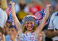 May 26, 2012:   A USA fan celebrates during action between the USA and Scotland at EverBank Field in Jacksonville, Florida.  USA defeated Scotland 5-1.............