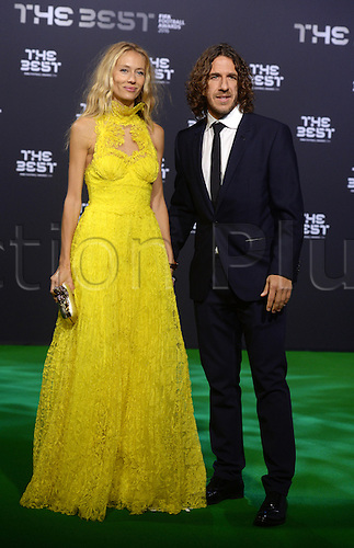 09.01.2017. Zurich, Switzerland.  Spanish former player Carles Puyol (r) and his wife Vanessa Lorenzo arriving on the green carpet, at the FIFA World Players of the Year 2016 gala in Zurich, Switzerland, 9 January 2017.