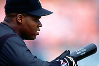 OAKLAND, CA - Frank Thomas of the Chicago White Sox takes batting practice before a game against the Oakland Athletics at the Oakland Coliseum in Oakland, California in 1994. Photo by Brad Mangin